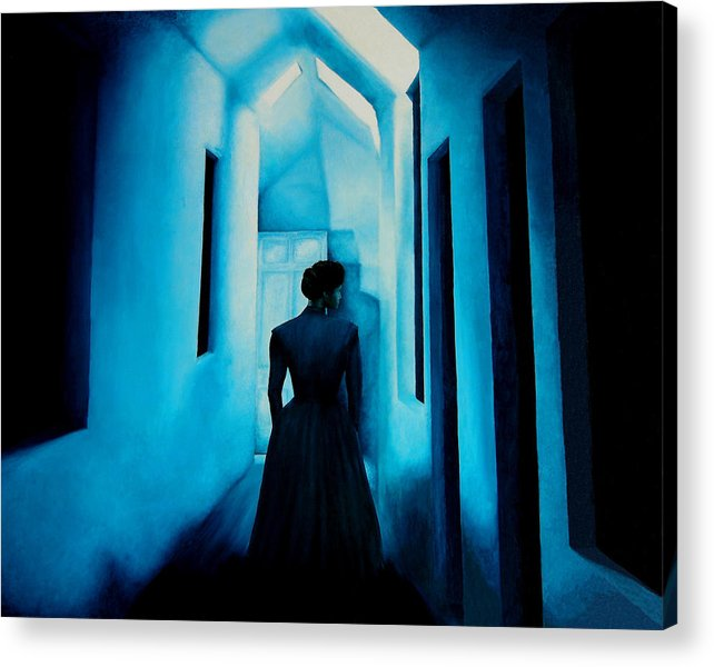 Oil Painting. Lady.blue Lady. Blue . Surreal Impressionism Acrylic Print featuring the painting Blue Lady In The Hall by Ivan Rijhoff