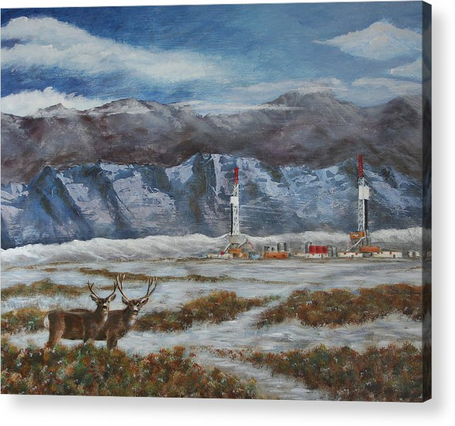 Deer Acrylic Print featuring the painting Deer And Drilling Rig by Karen Peterson
