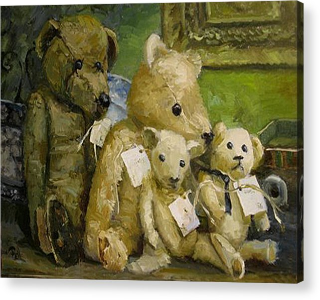 Antique Teddy Bears Acrylic Print featuring the painting Just A Lookin For A Home by Lilli Pell