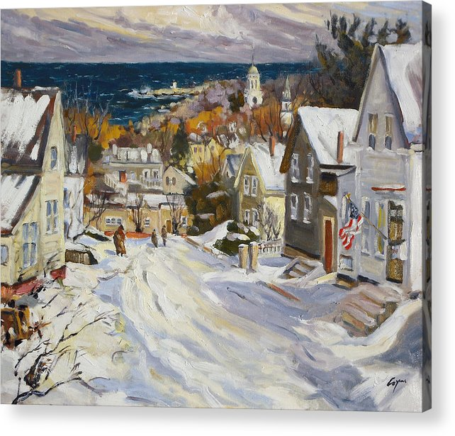 Snow Acrylic Print featuring the painting Summit Avenue In Winter by Chris Coyne