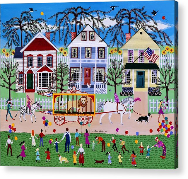 Circus Acrylic Print featuring the painting Wacky Jack's Travelling Circus Parade by Susan Henke