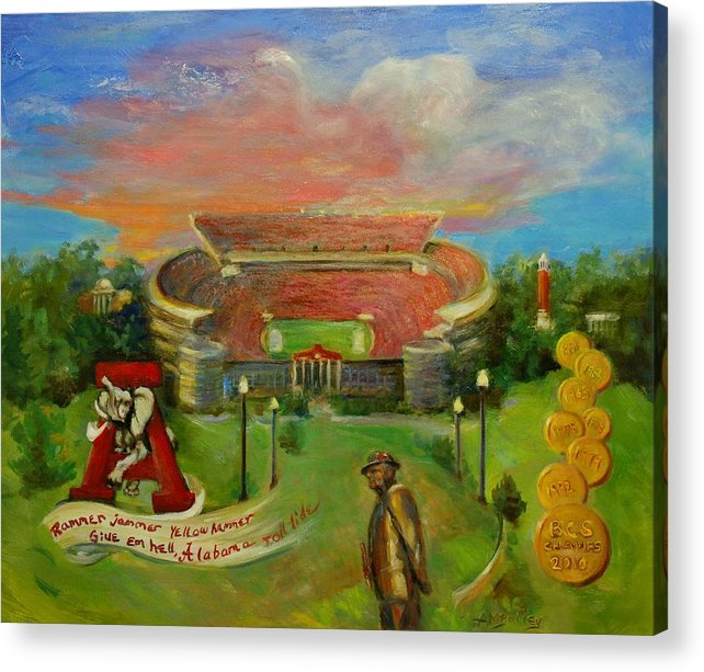 Roll Tide Acrylic Print featuring the painting Roll Tide by Ann Bailey