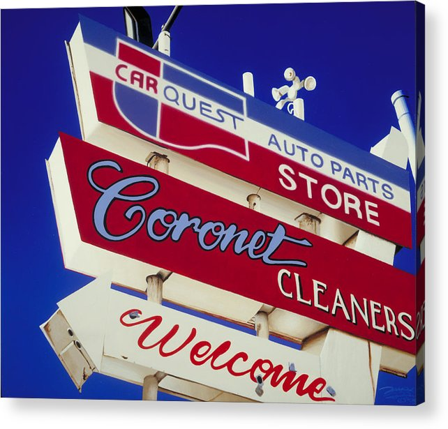 Americana Acrylic Print featuring the painting Coronet Cleaners by Randy Ford