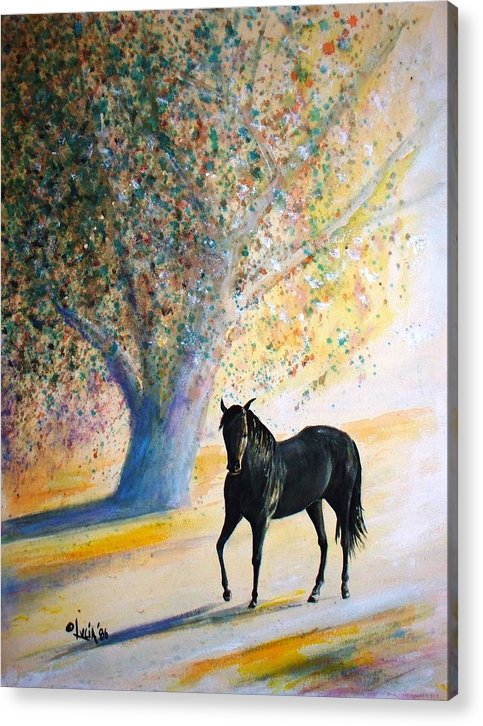 Watercolor. Horses. Acrylic Print featuring the print Champ by Carl Lucia
