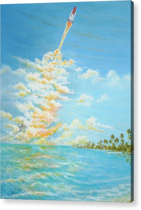 Historical Space-aviation Art-airplane Art Acrylic Print featuring the painting Pad 39 by Dennis Vebert