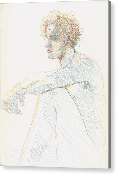 Young Acrylic Print featuring the drawing Blond Youth by Dean Hilborne