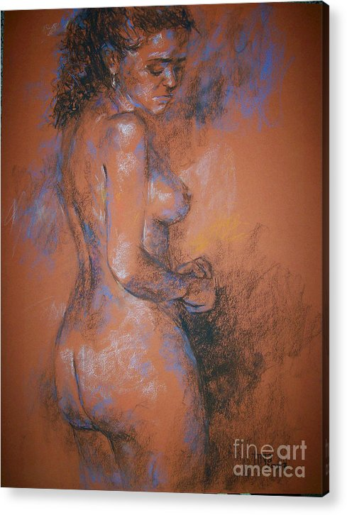 Figurative Acrylic Print featuring the painting Orange Nude by Tina Siddiqui