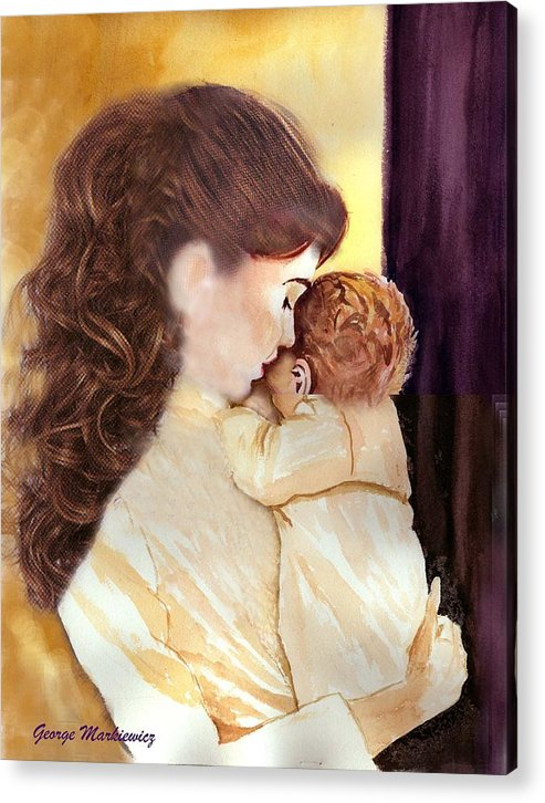Mother And Baby Acrylic Print featuring the print Tenderness by George Markiewicz