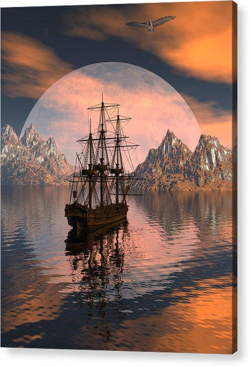 Bryce 3d Digital Fantasy Scifi Windjammer Sailing Acrylic Print featuring the digital art At Anchor by Claude McCoy