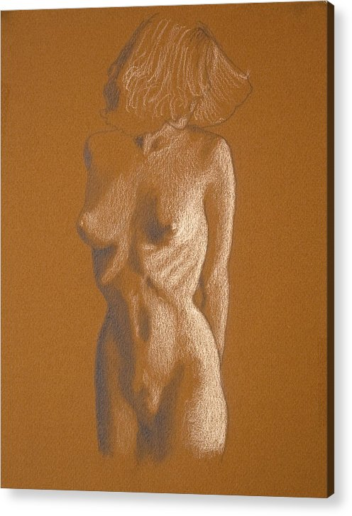 Female Acrylic Print featuring the drawing Female Nude Six by George Wade