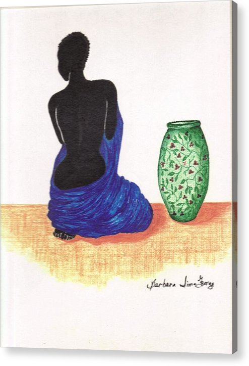 Acrylic Print featuring the drawing Woman and a Ginger Jar by Bee Jay