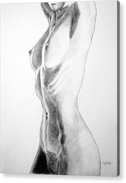 Female Acrylic Print featuring the drawing Female Nude Three by George Wade