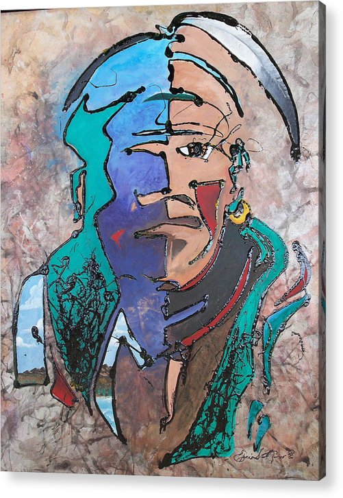Abstract Acrylic Print featuring the painting Nigel The Guardian by Ernie Scott- Dust Rising Studios