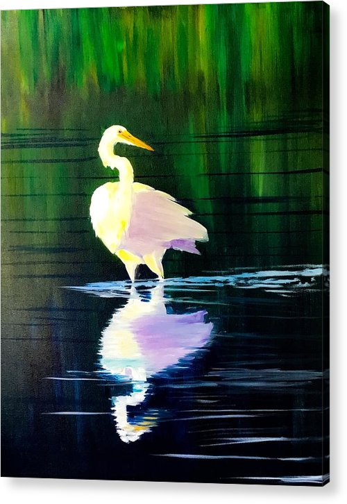 Wading Egret Acrylic Print featuring the painting Stealthy by Jeffrey Mcdaniel