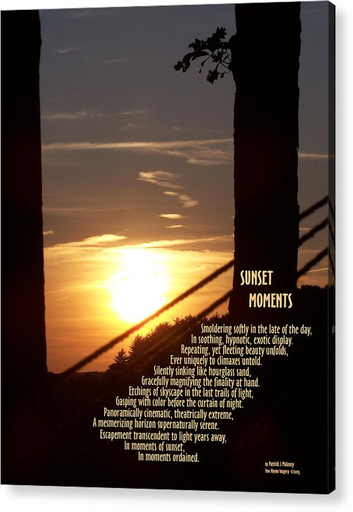Poetry Acrylic Print featuring the mixed media Sunset Moments IIi by Patrick J Maloney