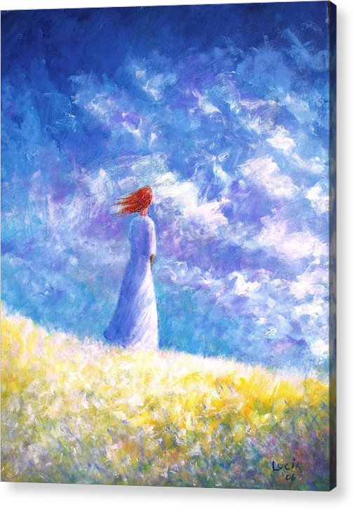 Ireland. Colleen. Young Woman. Sjyscapes. Acrylic Print featuring the print Colleem's Hill by Carl Lucia