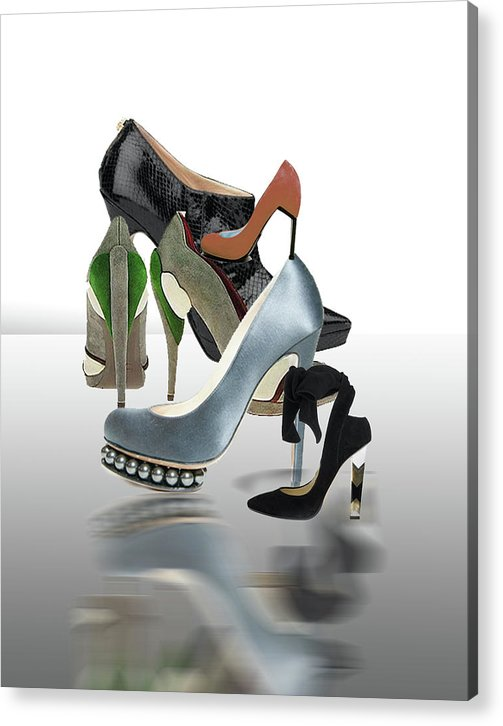 Digital Acrylic Print featuring the digital art Eva's Shoes by Dolores Russo