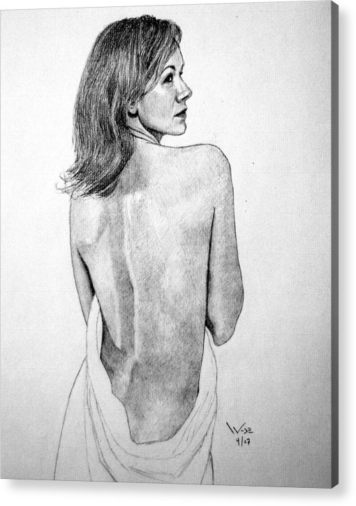 Female Acrylic Print featuring the drawing Female Nude Two by George Wade