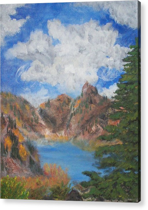Fall Acrylic Print featuring the painting Fall In The Rockies by Jennifer Skalecke