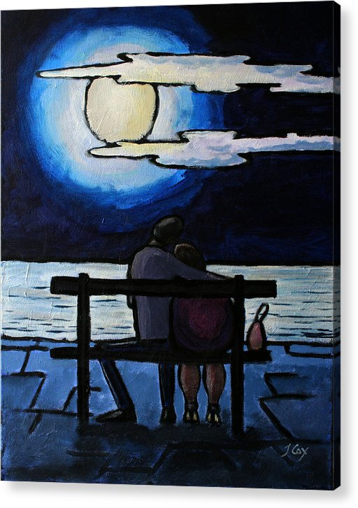 Figure. Moonlight. Evening. Couple. Seascape. Acrylic Print featuring the painting Sitting In The Moonlight. by John Cox
