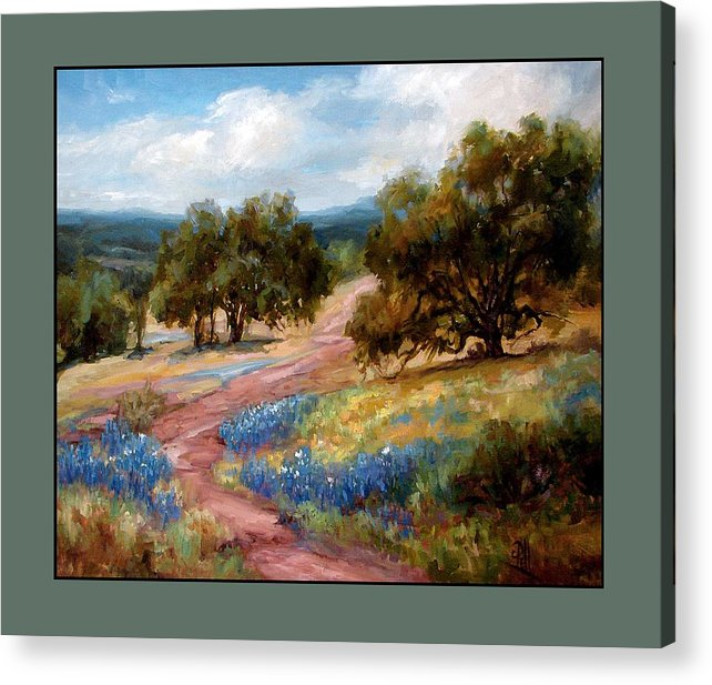 Texas Landscape Hill Country Bluebonnets Acrylic Print featuring the painting A Few Bluebonnets by Lilli Pell