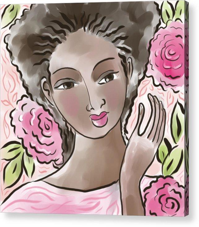 African American Acrylic Print featuring the digital art Joy In Flowers by Elaine Jackson