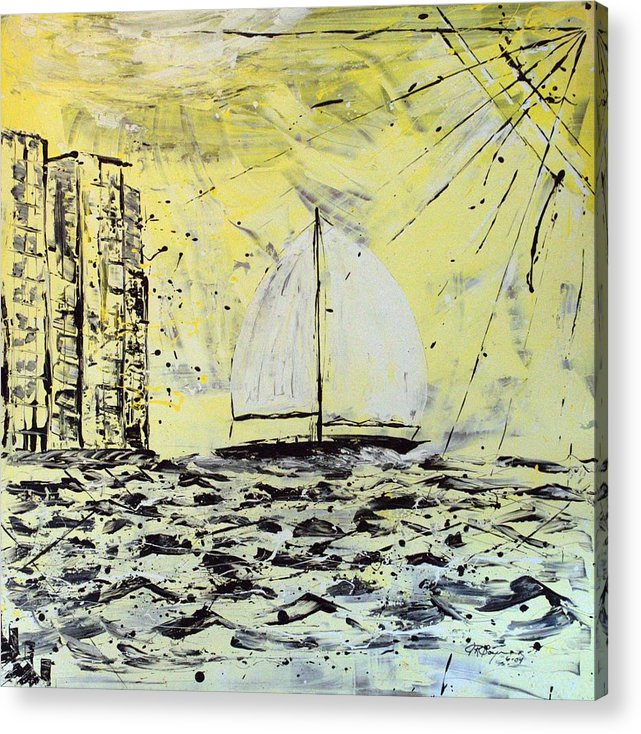 Abstract Acrylic Print featuring the painting Sail And Sunrays by J R Seymour