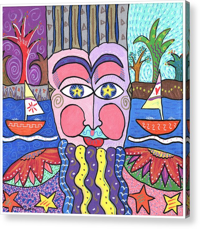Whimsical Acrylic Print featuring the painting The Bearded Man by Sharon Nishihara