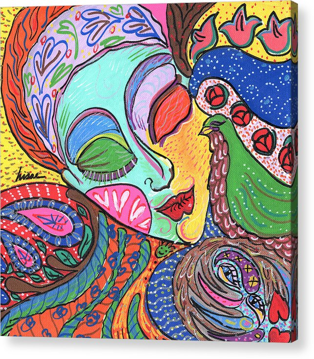 Whimsical Acrylic Print featuring the painting Woman With Scarf by Sharon Nishihara