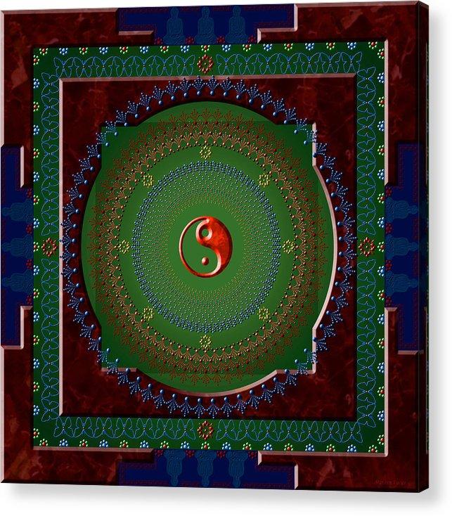 Mandala Acrylic Print featuring the digital art Yin Yang by Stephen Lucas
