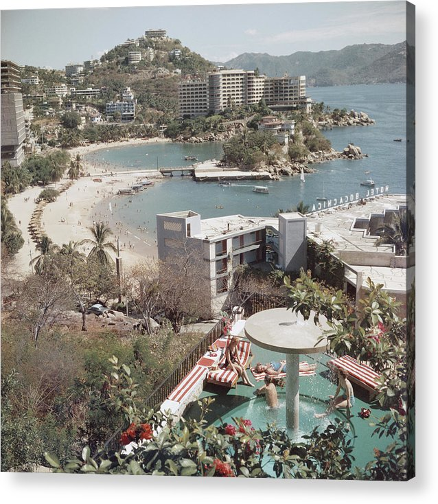Caleta Beach Acrylic Print featuring the photograph Caleta Beach, Acapulco by Slim Aarons