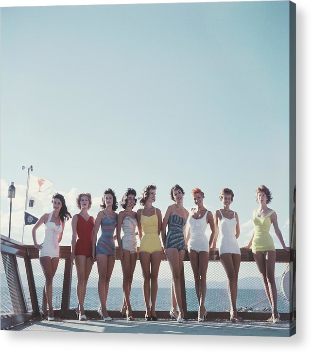 People Acrylic Print featuring the photograph Lake Tahoe Ladies by Slim Aarons