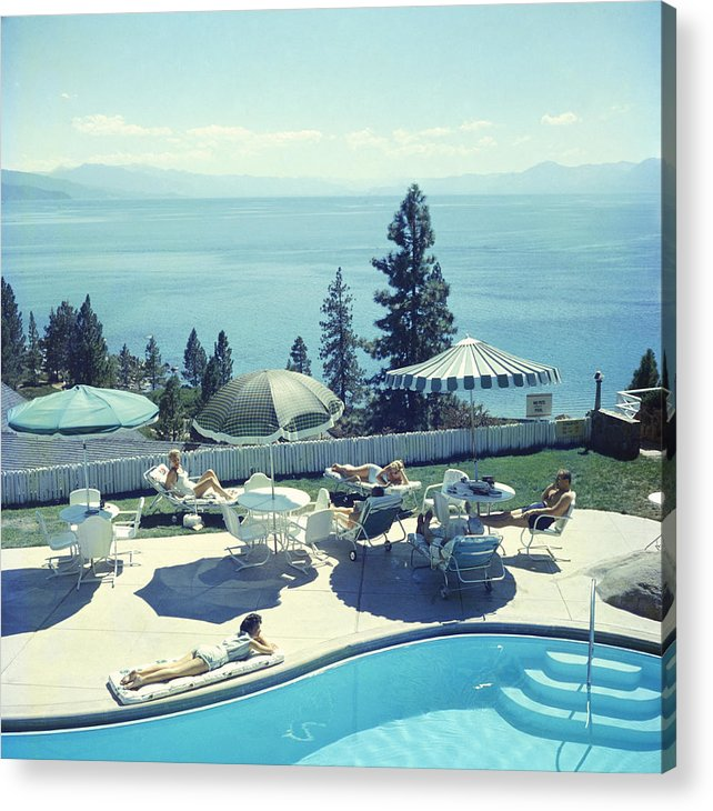 People Acrylic Print featuring the photograph Relaxing At Lake Tahoe by Slim Aarons