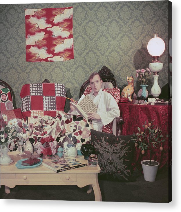 Truman Capote Acrylic Print featuring the photograph Capote At Home by Slim Aarons