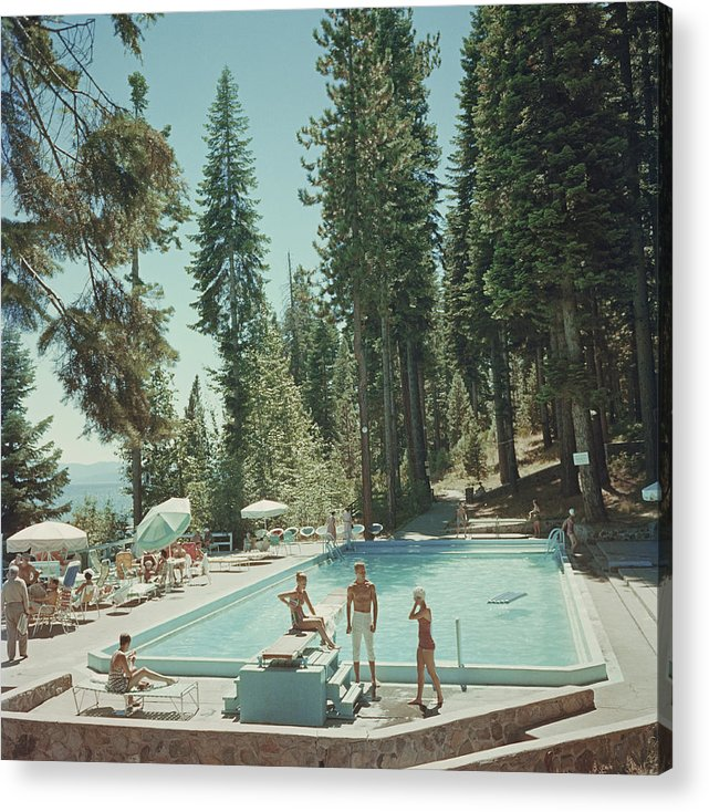 People Acrylic Print featuring the photograph Pool At Lake Tahoe by Slim Aarons