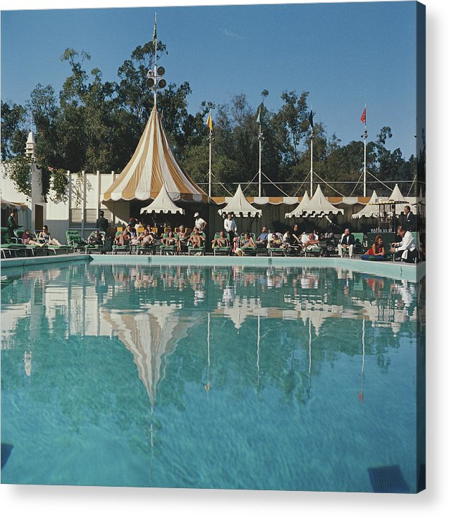 People Acrylic Print featuring the photograph Poolside Reflections by Slim Aarons