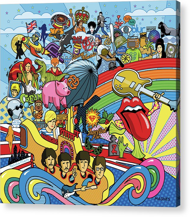 Music Acrylic Print featuring the digital art British Invasion 64 by Ron Magnes