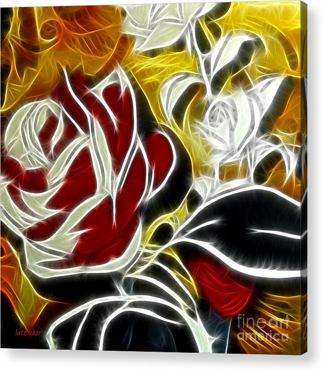 Rose Acrylic Print featuring the digital art Roses fire and ice by Lutz Baar