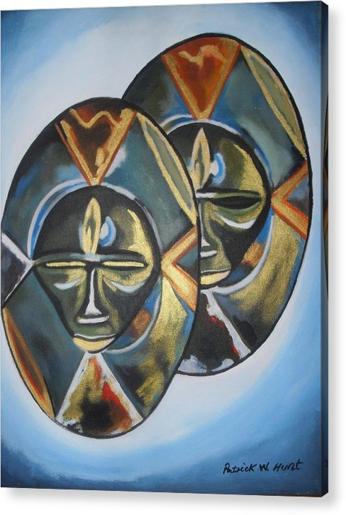 African Art Acrylic Print featuring the painting African Double Mask by Patrick Hunt