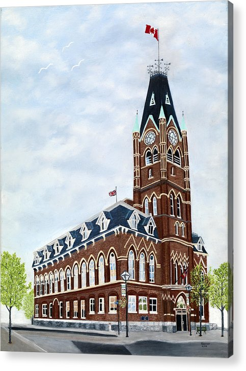 Belleville Ontario Painting Acrylic Print featuring the painting City Hall circa1873 Belleville Ontario by Peggy Holcroft