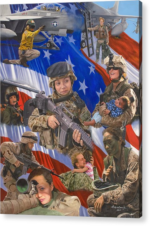 War Acrylic Print featuring the painting Fair Faces of Courage by Karen Wilson