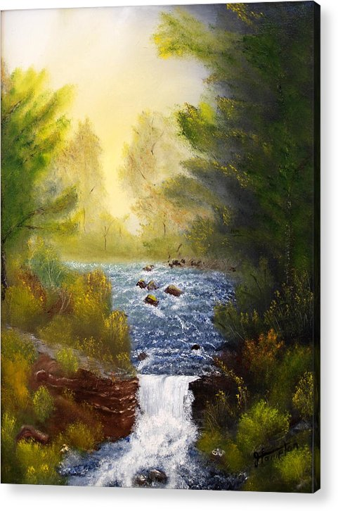 Landscape Acrylic Print featuring the painting Misty Morning by Jack Hampton