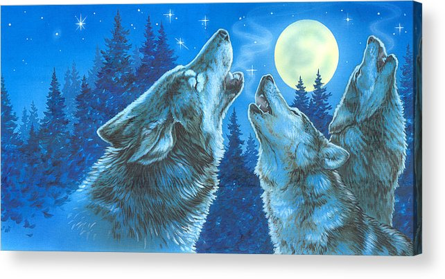 Wolves Acrylic Print featuring the painting Moon Song by Richard De Wolfe