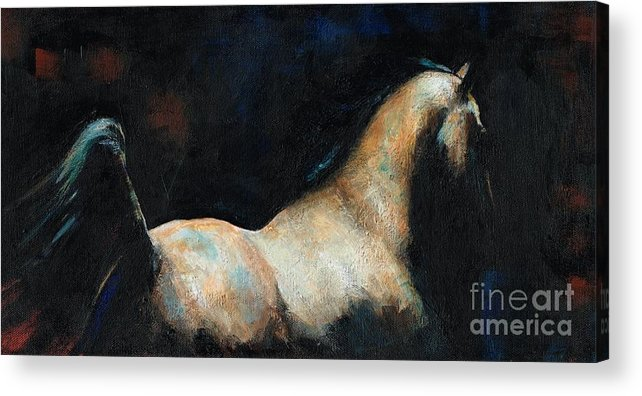 Equine Art Acrylic Print featuring the painting At Liberty by Frances Marino
