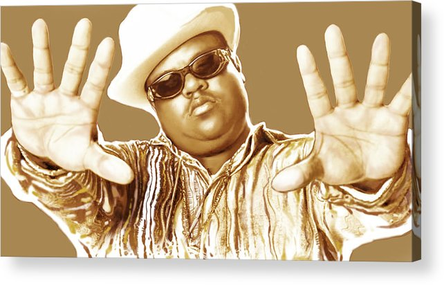 Biggie Smalls Stylised Pop Art Colour Drawing Poster. Portraits Acrylic Print featuring the drawing Biggie smalls stylised pop art colour drawing poster by Kim Wang