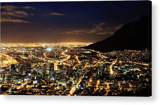 Scenics Acrylic Print featuring the photograph Cape Town, South Africa By Night by Clicknique