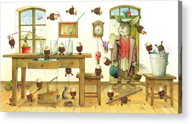 Easter Eggs Spring Rabbit Acrylic Print featuring the painting Eastereggs 01 by Kestutis Kasparavicius