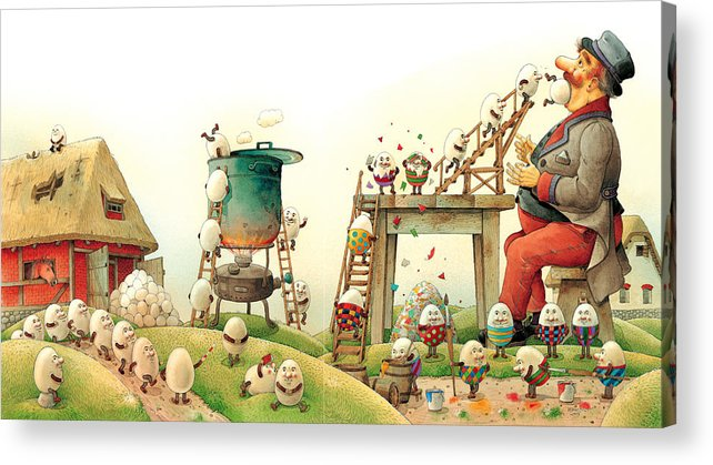 Easter Eggs Spring Green Landscape Breakfast Acrylic Print featuring the painting Eastereggs 07 by Kestutis Kasparavicius