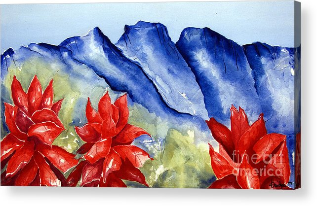 Mountains Acrylic Print featuring the painting Monterrey Mountains with Red Floral by Kandyce Waltensperger