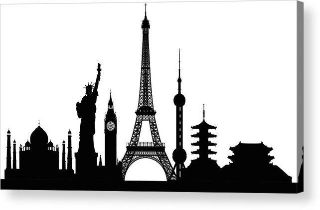 Clock Tower Acrylic Print featuring the digital art Monuments Buildings Are Complete And by Leontura
